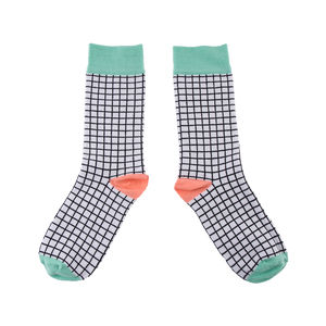 Black And White Check Socks For Women - women's fashion