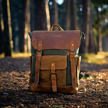 Large Waxed Canvas Backpack With Leather Front Pocket