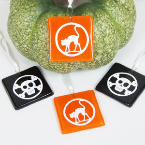 Handmade Glass Halloween Skull Or Cat Party Favours