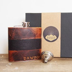 Personalised Leather Hip Flask - men's accessories