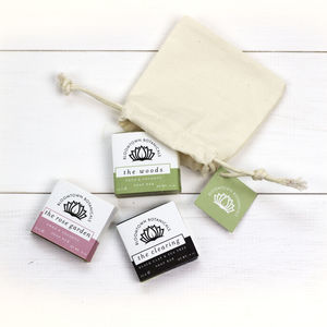 Pouch Of Three Handmade Mini Soaps - bath & body