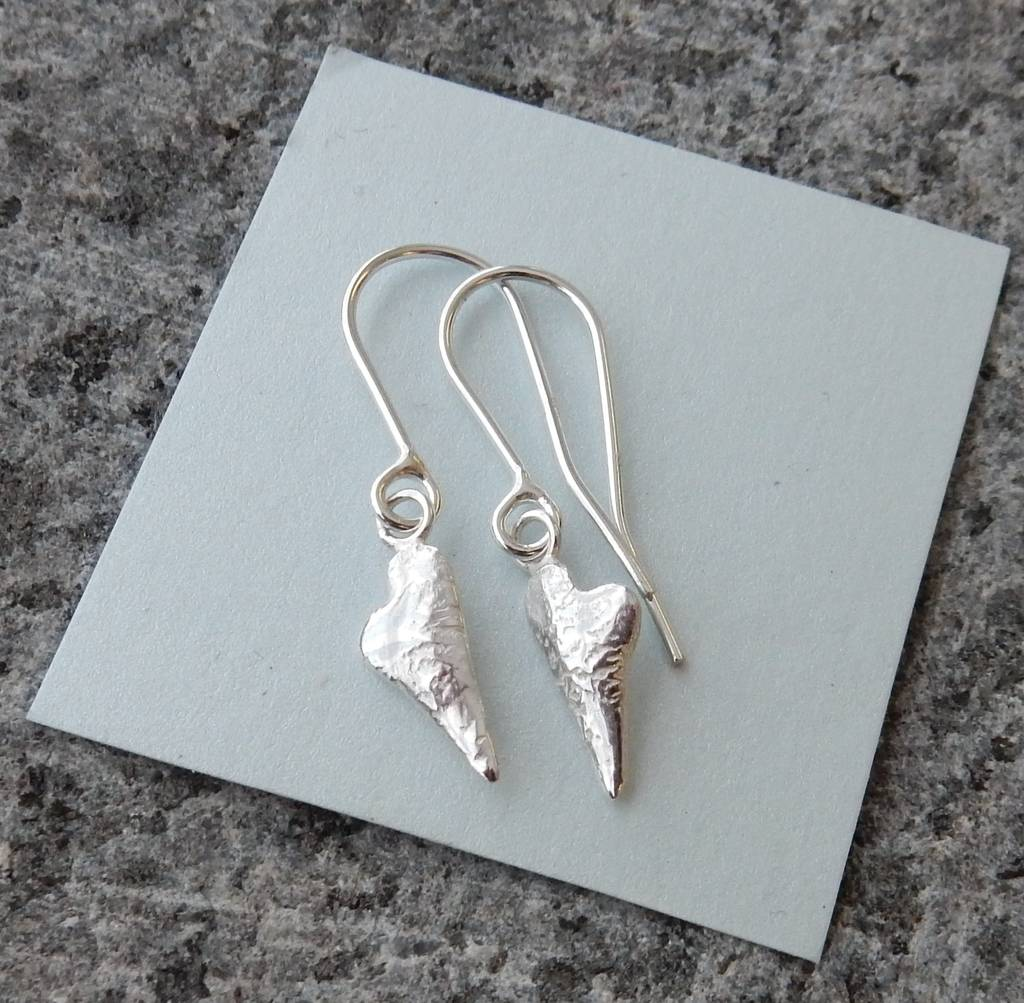 Silver Melting Heart Drop Earrings