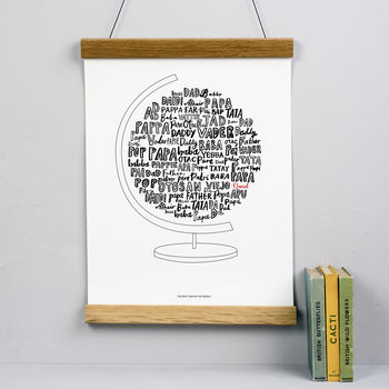 Personalised Best Dad In The World Globe Print