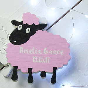 Baby Lamb Wooden New Baby Or Christening Card