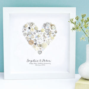 Personalised Silver Anniversary Art Gift