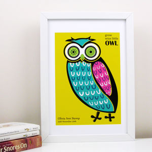 'Grow Wise Little Owl' Print - children's pictures & paintings
