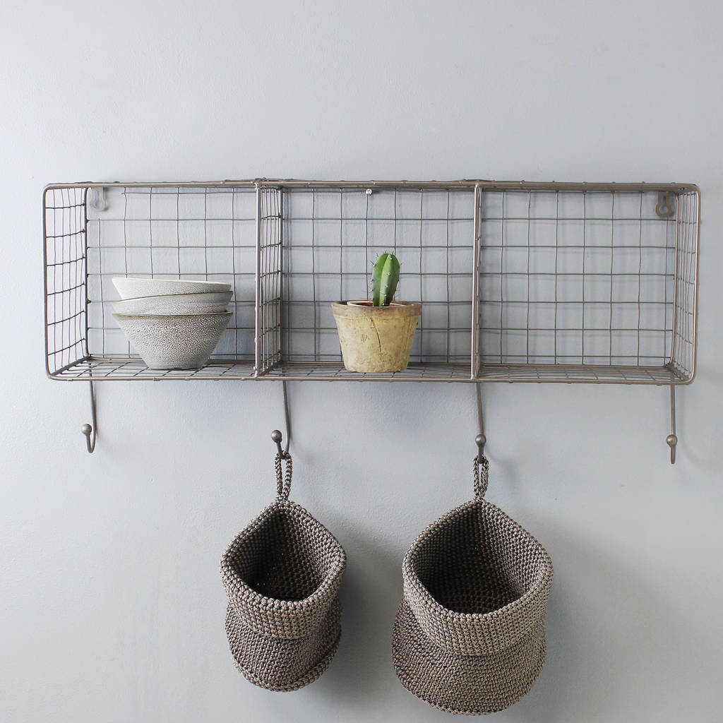 wire shelf rack with hooks by marquis & dawe | notonthehighstreet.com