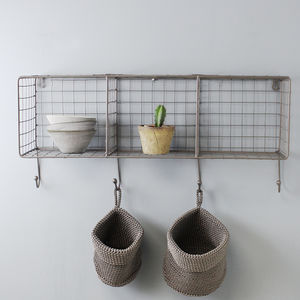 Wire Shelf Rack With Hooks