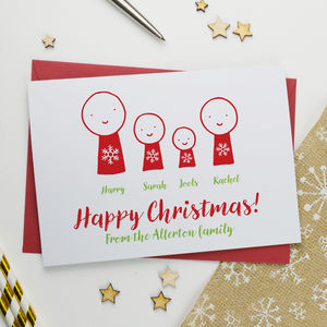 Cute Personalised Cartoon Christmas Card Pack - cards