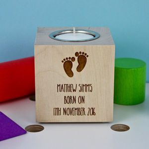 Baby Birth Tea Light Candle Holder - children's room