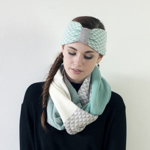 Triangle Circle Scarf And Headband Set In Mint - hats, scarves & gloves