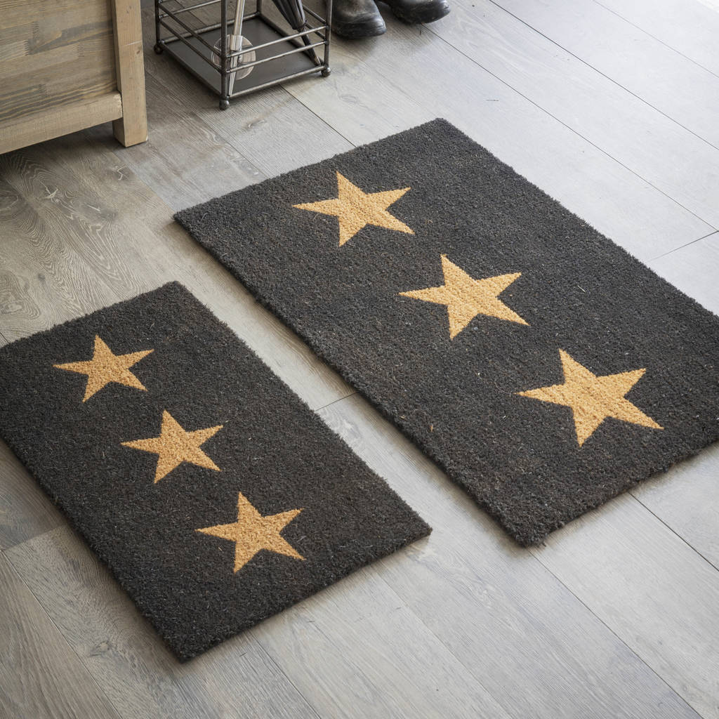 Doormat Three Stars In Charcoal By Garden Trading