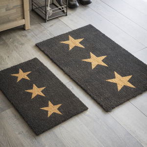 Doormat Three Stars In Charcoal - rugs & doormats