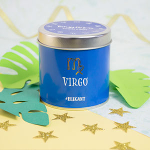 'Virgo' Zodiac Jasmine And Moke Scented Tin Candle