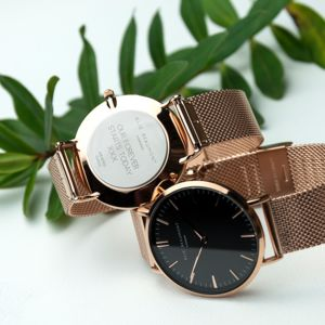 Personalised Rose Gold Mesh Watch - watches