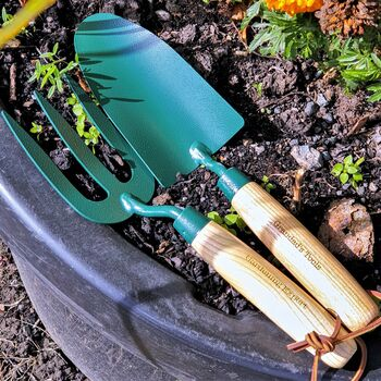 Personalised Fork And Trowel Gardening Set
