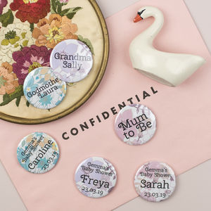 Retro Floral Personalised Baby Shower Badges