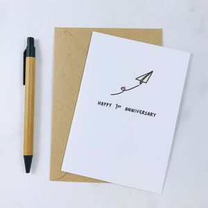 'Happy 1st Anniversary' Paper Card