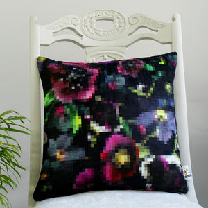 Pixel Floral Geometric Botanical Cushion - patterned cushions