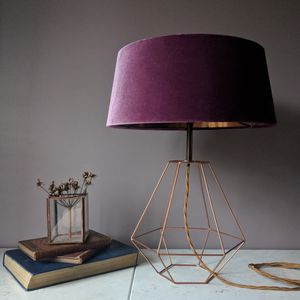 Lilac Velvet Deco Lamp - dining room