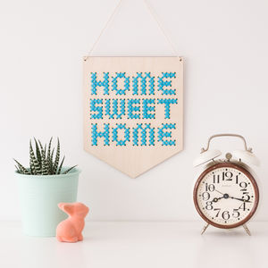 Home Sweet Home Small Cross Stitch Wooden Banner