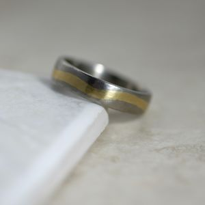 Inlaid Two Tone Gold Band - wedding jewellery