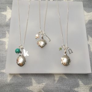 Silver Locket, Initial And Birthstone Necklace - christening jewellery