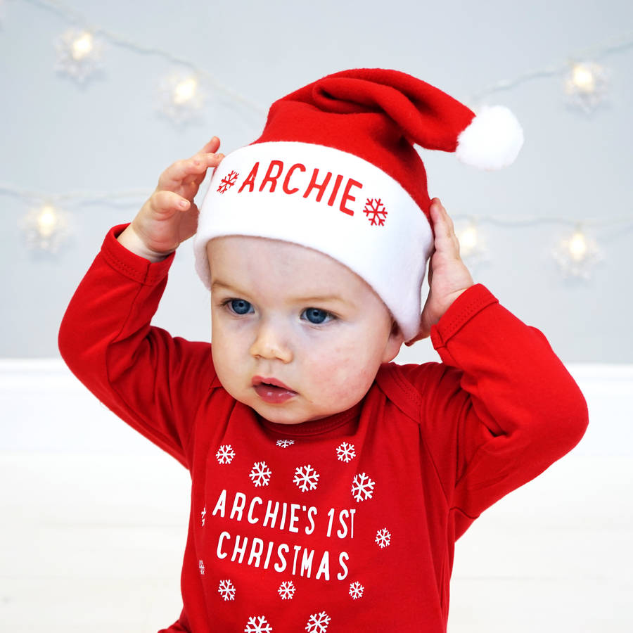 personalised baby santa hat by sparks and daughters ... 5590ab4b0
