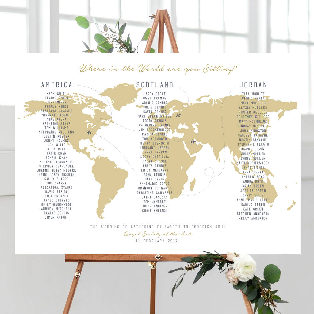 Where in the world am i sitting map table plan by rodo creative where in the world am i sitting map table plan gumiabroncs Gallery