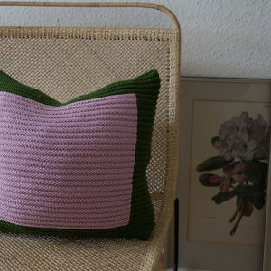 Strikk Hand Knit Colourblock Cushion In Green Pink