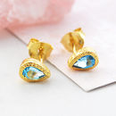 Gold Blue Topaz Tear Drop Stud Earrings