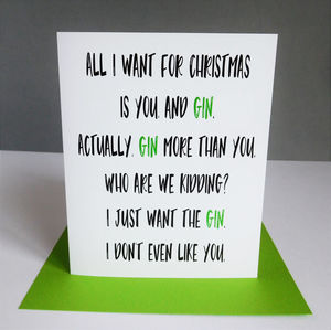 Funny Gin Christmas Card - cards