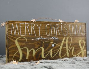 Personalised Family Name Christmas Plaque