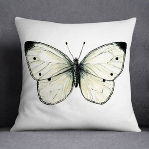 Small White Butterfly Illustrated Printed Cushion