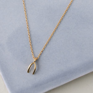 Gold Plated Wishbone Necklace - modern-boho