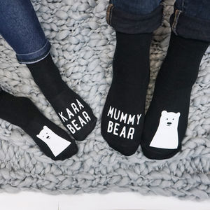 Personalised Family Bear Sock Set - mother & child sets