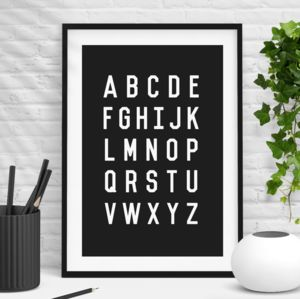 'Alphabet' Stylish Black White Wall Print