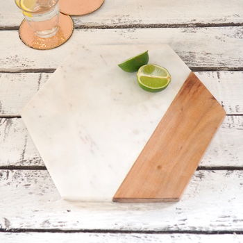 Hexaganol Marble And Wood Chopping Board