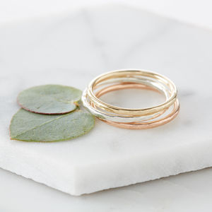 Hammered Gold Halo Ring