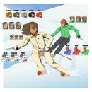 Personalised Couple Skiing Comic Book Style Print
