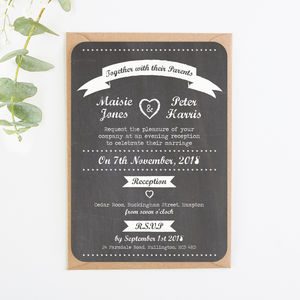 Chalkboard Heart Evening Invite