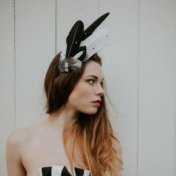 Black And White Feather Headdress 'Aves'
