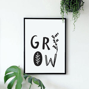 'Grow' Typographic Giclée Print - children's room