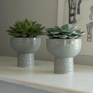Grey Glazed Face Pot