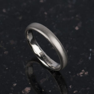 18ct White Gold Matt Mens Ring - rings