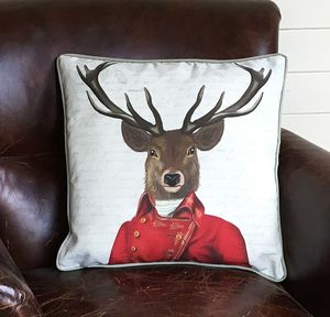 Deer With Red And Gold Jacket Decorative Cushion - cushions