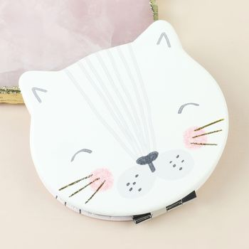 Over The Moon Cat Compact Mirror