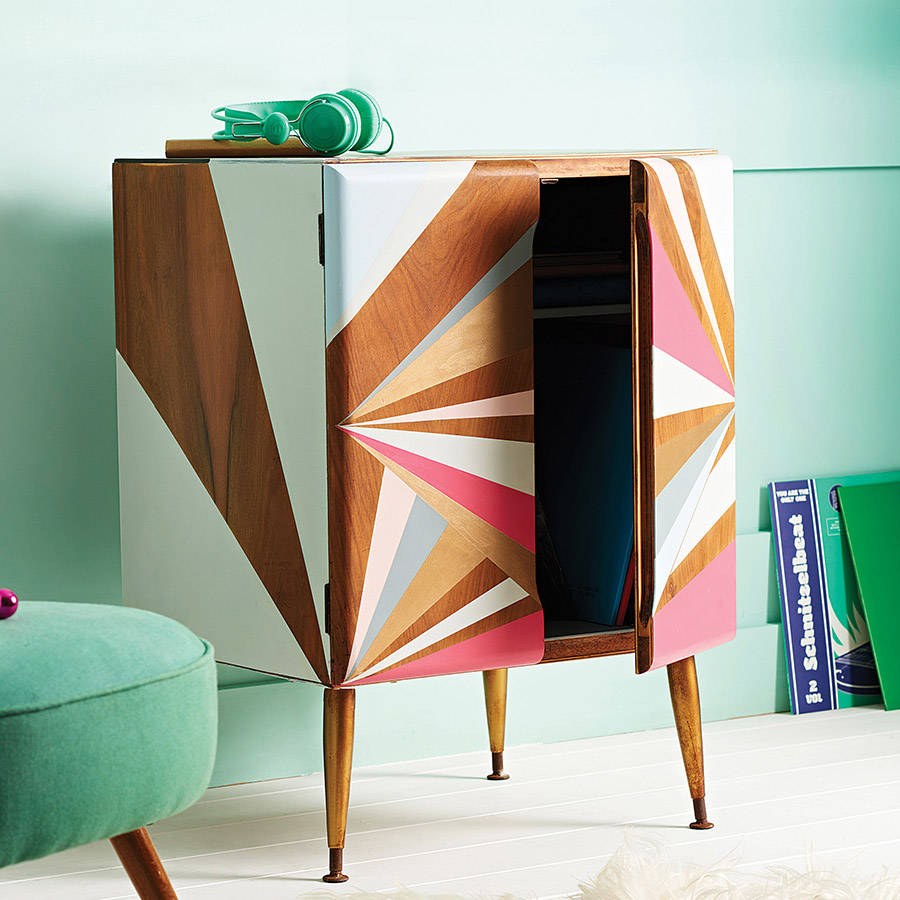 Eclectic Furnishings: Geometric Painted Record Cabinet By Alpha Fleur