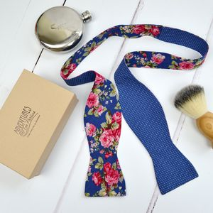 Handmade Mix And Match Bow Tie : Blue Rose