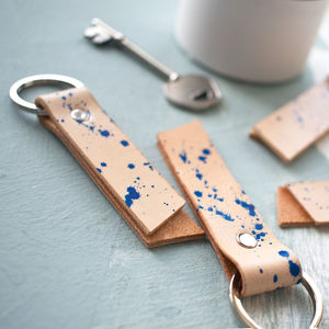 Handmade Leather Splash Keyring - keyrings
